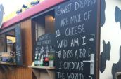 sweet dreams are made of cheese printed on chalkboard