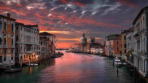 Venice under orange and black sky