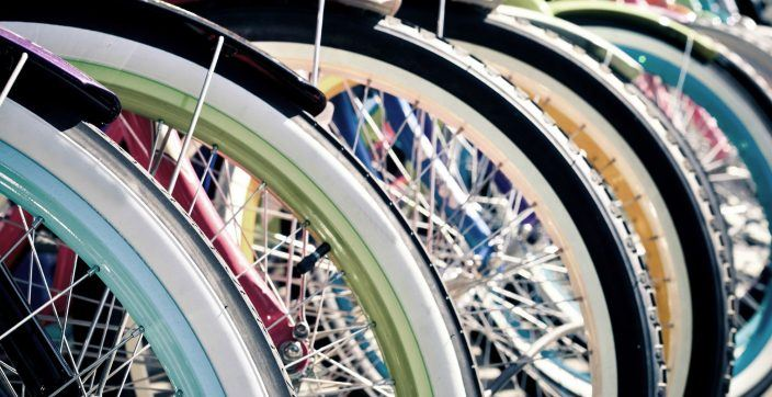 colorful bicycle tires