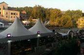 gray tent under blue sky