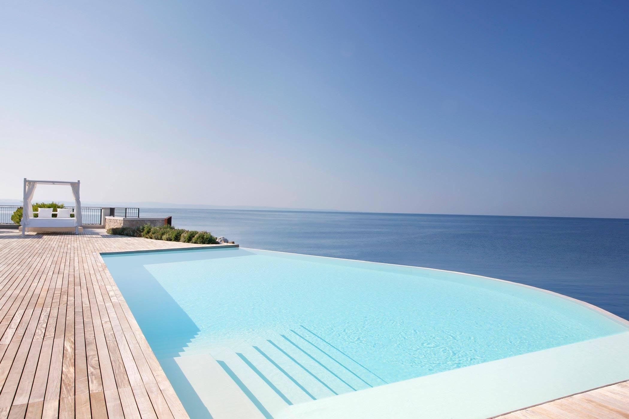 blue pool during daytime