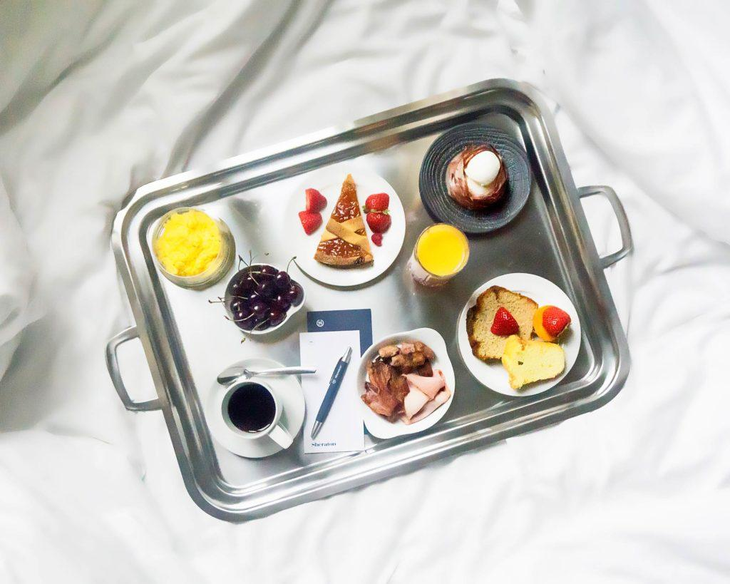 pastries on stainless steel tray