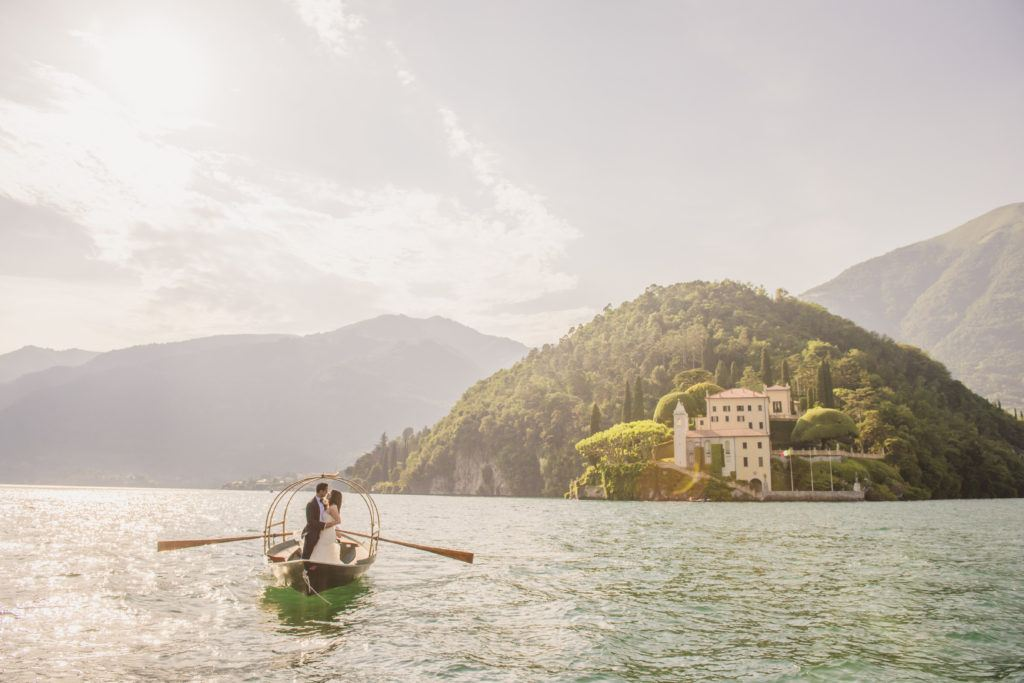 Just Married Couple on a boat on Lake Como