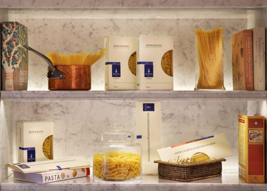 brown pasta on shelf