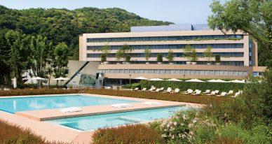 swimming pool near concrete building