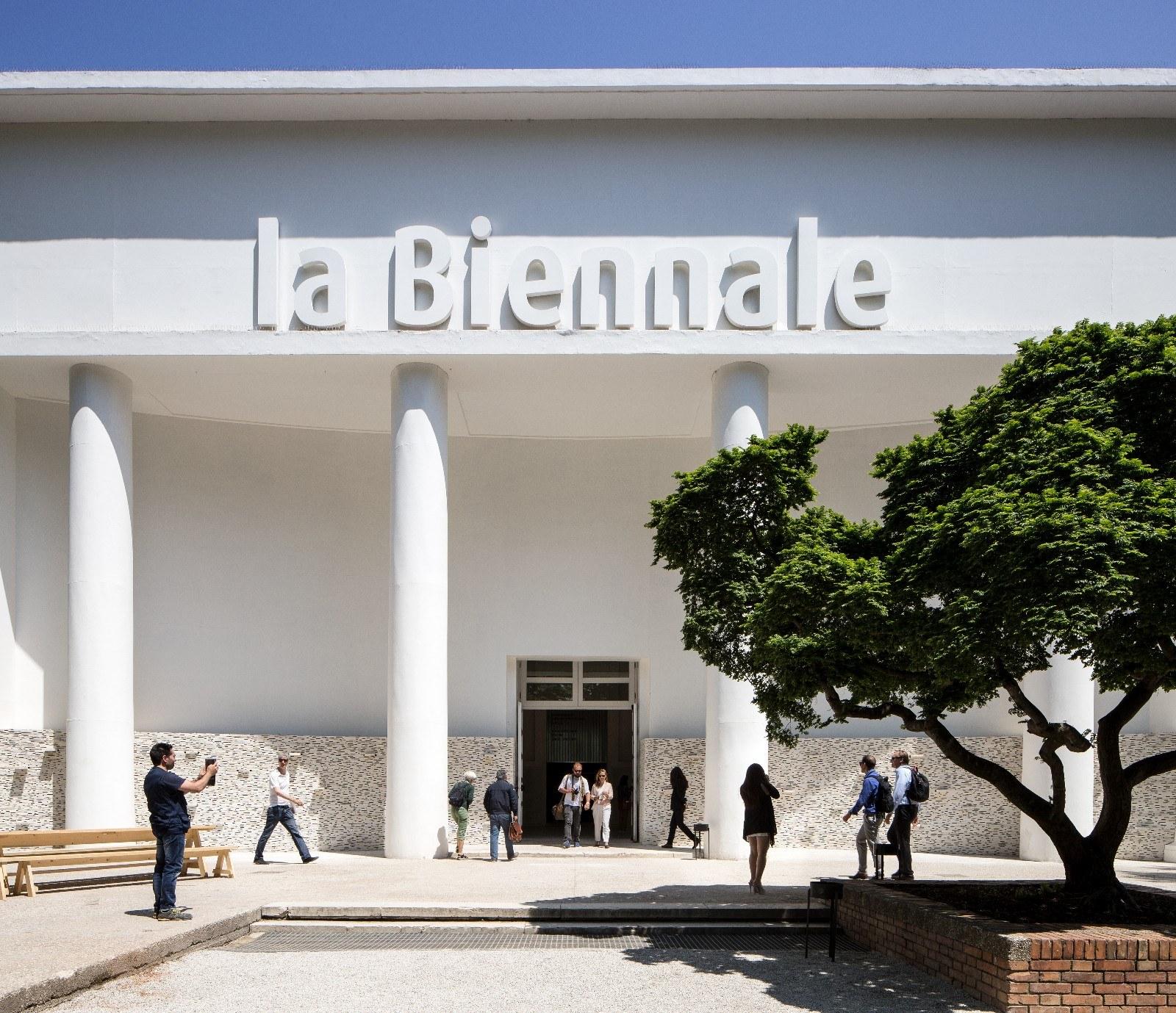 La Biennale signage on building