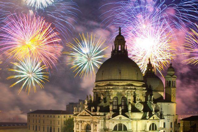 fireworks over building