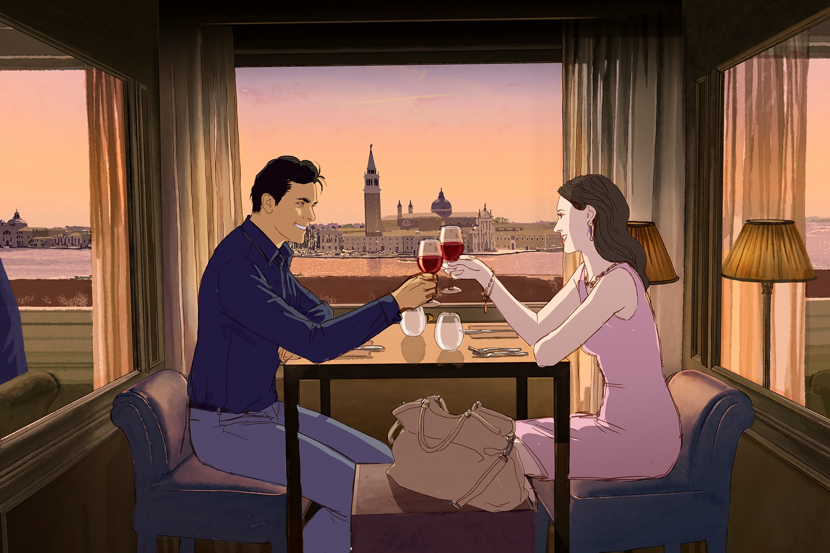 man and woman having dinner with overlooking view of Big Ben