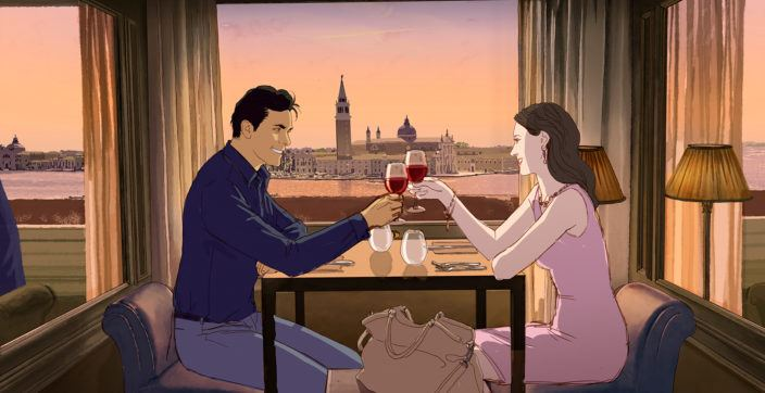illustration of man and woman toasting glasses of wine
