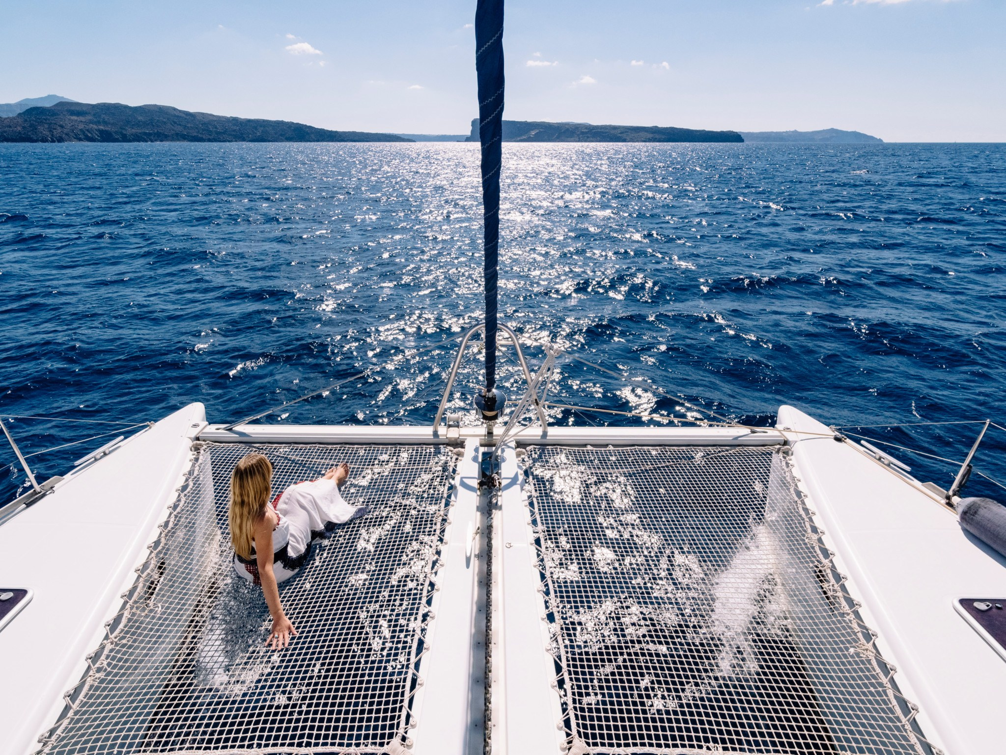 woman gliding on yacht