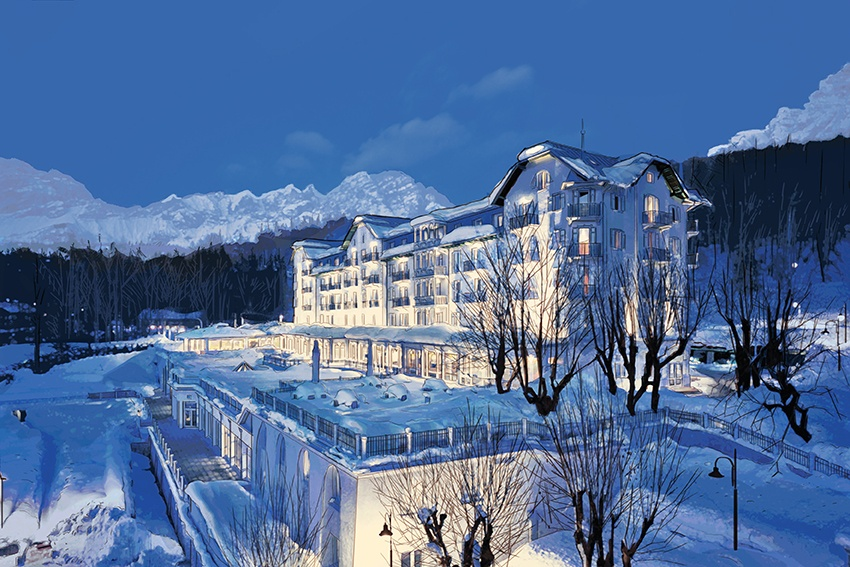 white buildings covered with snow at blue hour