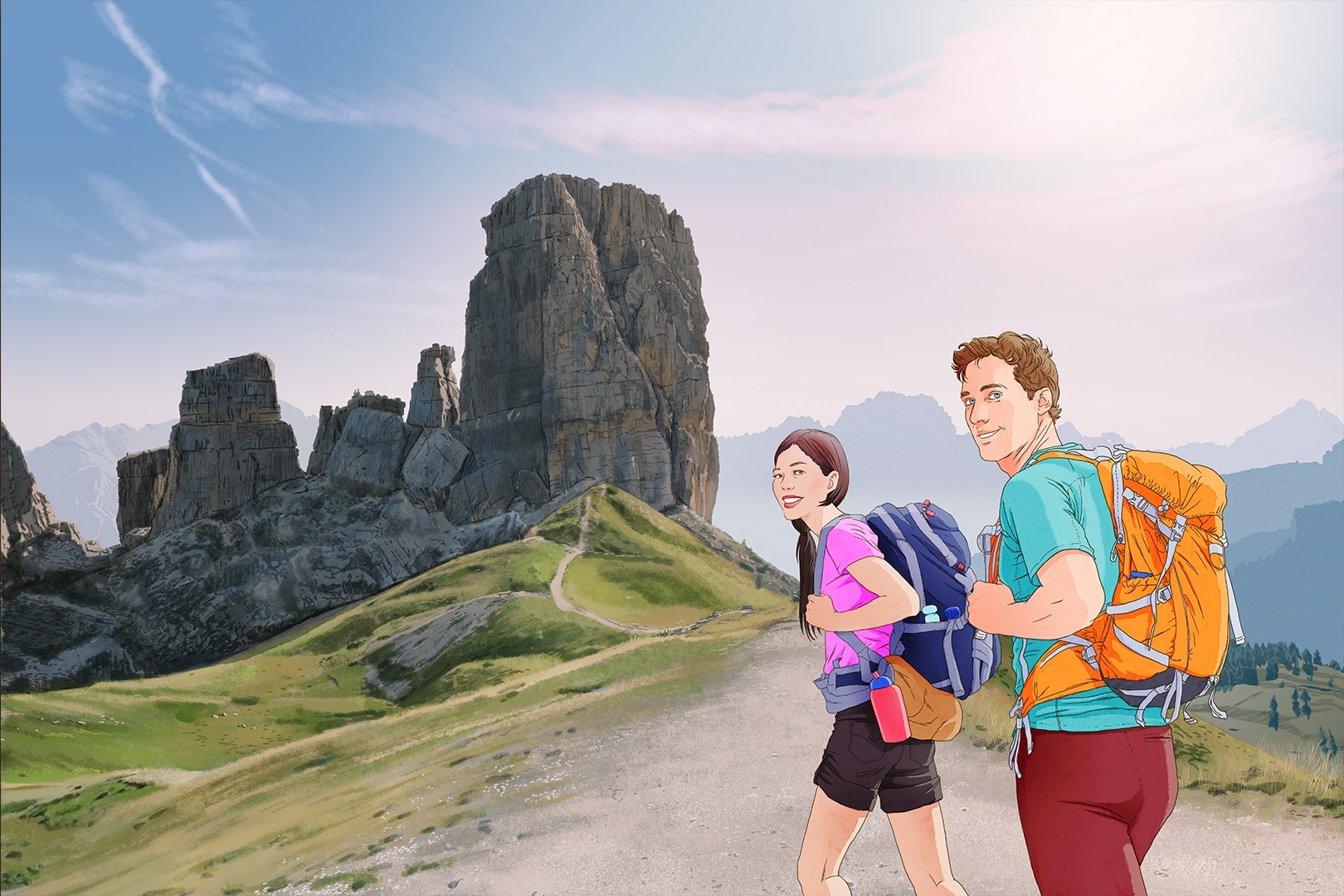 man and woman carrying hiking backpacks near rock