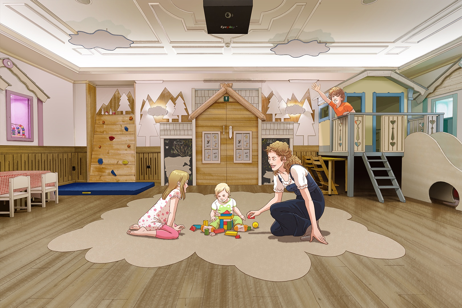 illustration of woman, girl and baby playing on the floor