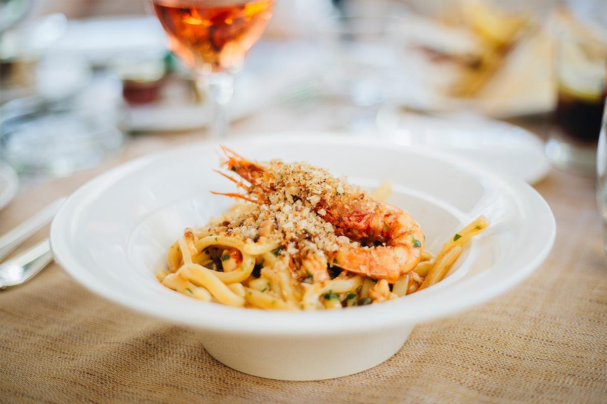 pasta dish in round white bowl