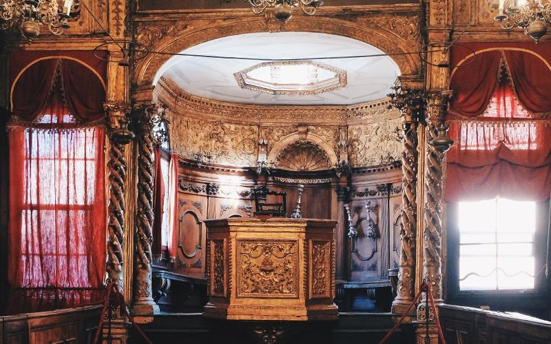 brown podium inside building
