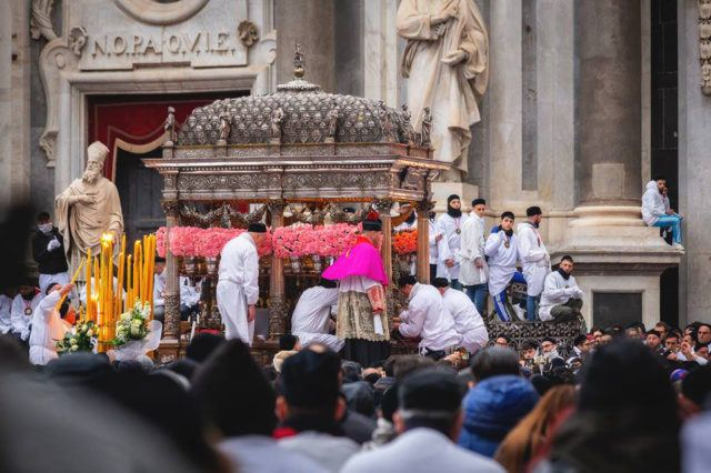 Procession during St.Agata festival in Catania