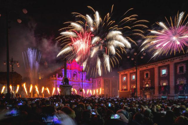 Fireworks during St.Agata Festival in Catania
