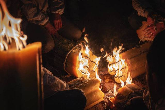 Bonfire during St.Agata festival in Catania