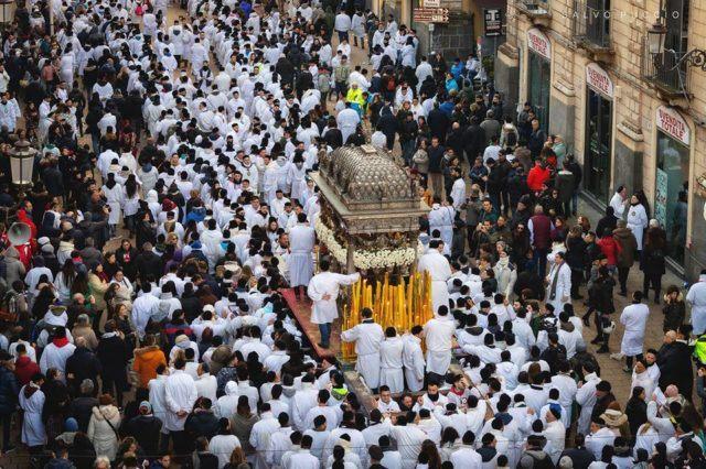 Procession during St.Agata festival in Catania