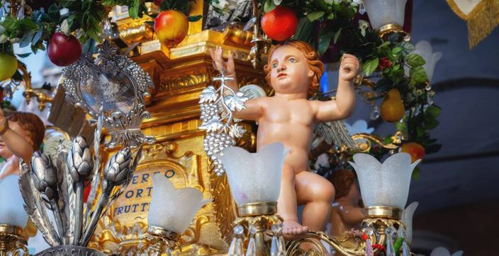 Details of the procession during St.Agata Festival in Catania