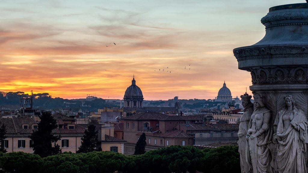 The view of the golden hour on the terrace of Altare della Patria in Rome