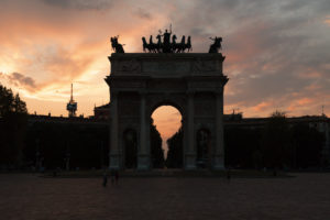 Sunset view in Milan at Arco della Pace