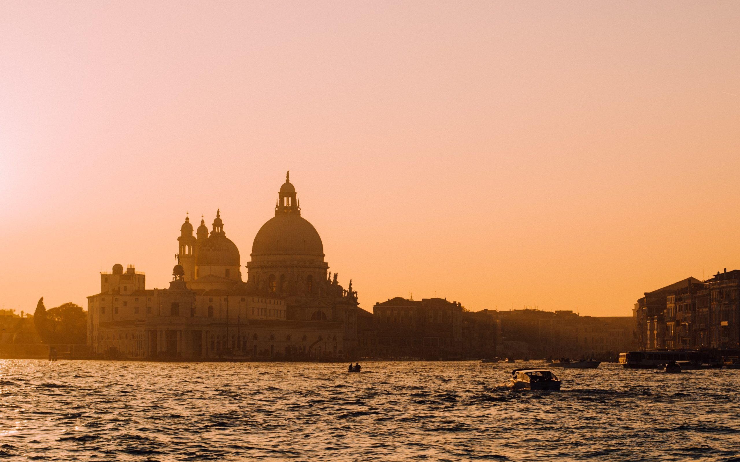 The golden hour in Venice with the view of Basilica della salute