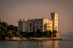 Sunset view in Trieste at Miramare Castle