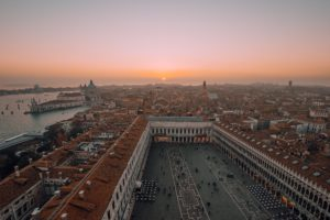 Sunset view of Campanile di San Marco in Venice