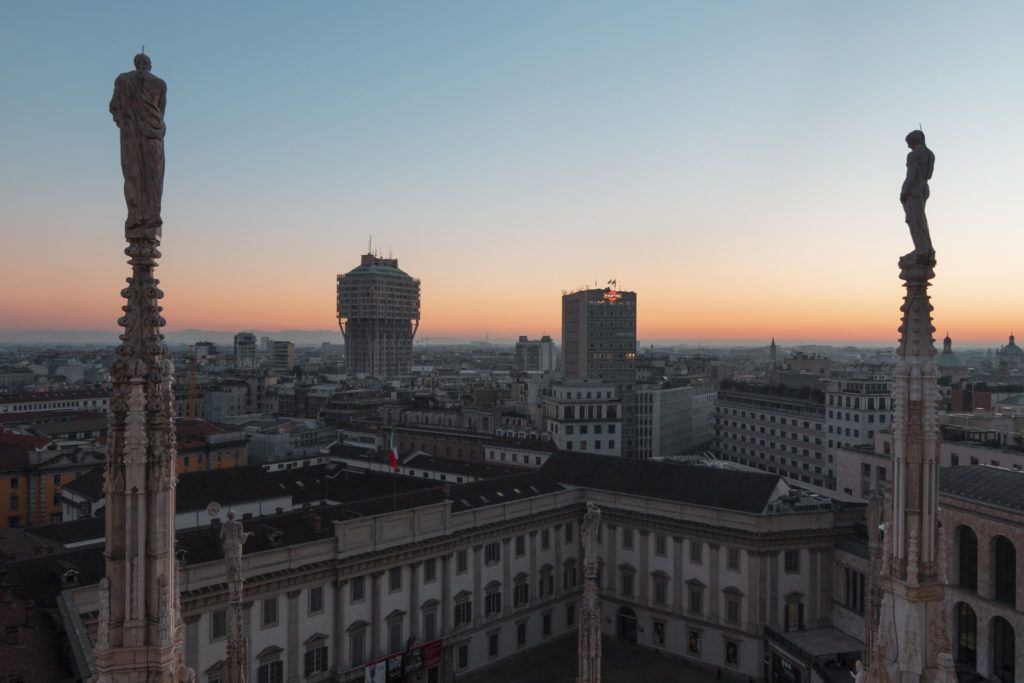 The incredible view of Milan by the terrace of Duomo