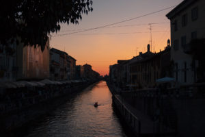 The golden hour in Milan at Naviglio Grande