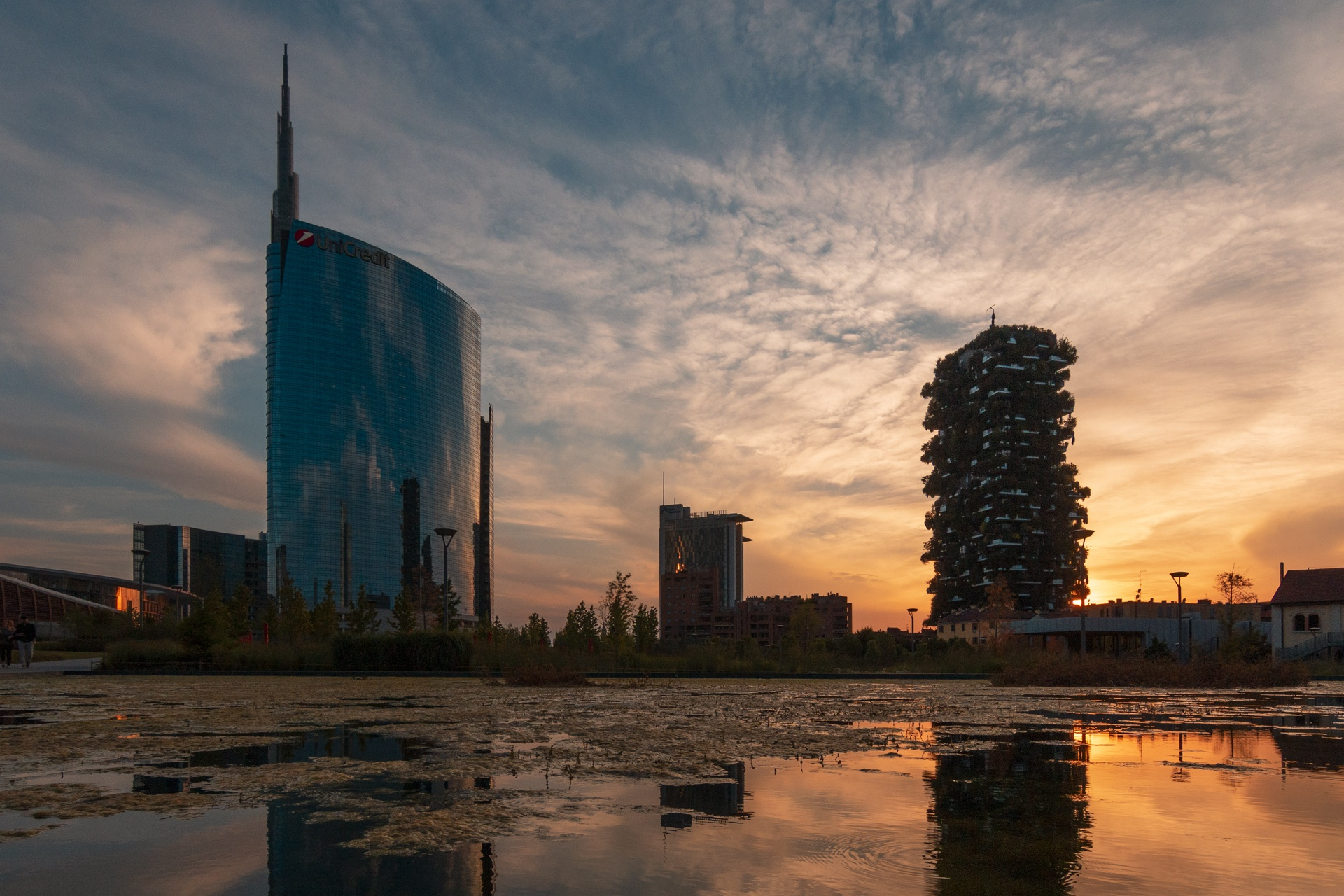 The golden hour in Milan at Porta Nuova