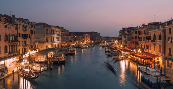 Sunset view of Rialto Bridge in Venice