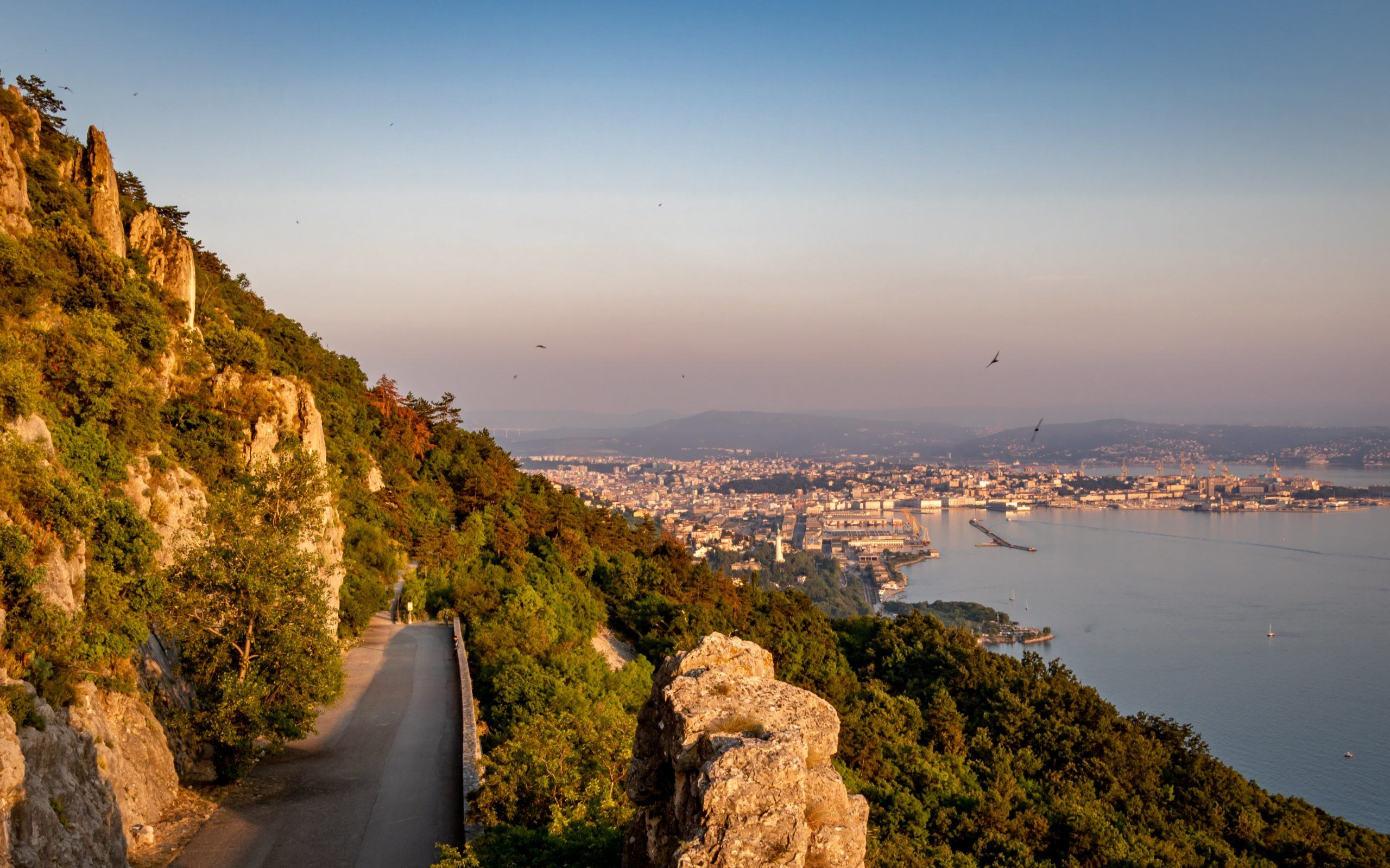 Sunset view in Trieste at Strada Napoleonica