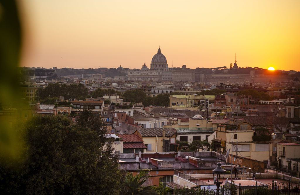 Sunset view at Pincio in Rome