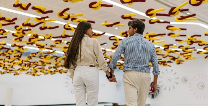 Couple exploring the Maxxi Museum in Rome