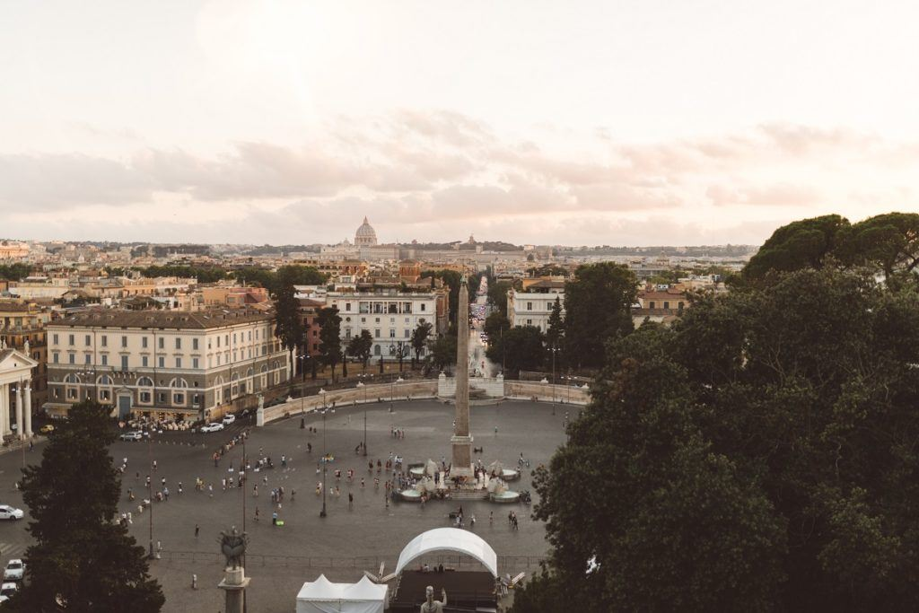 The view from Pincio terrace in Rome