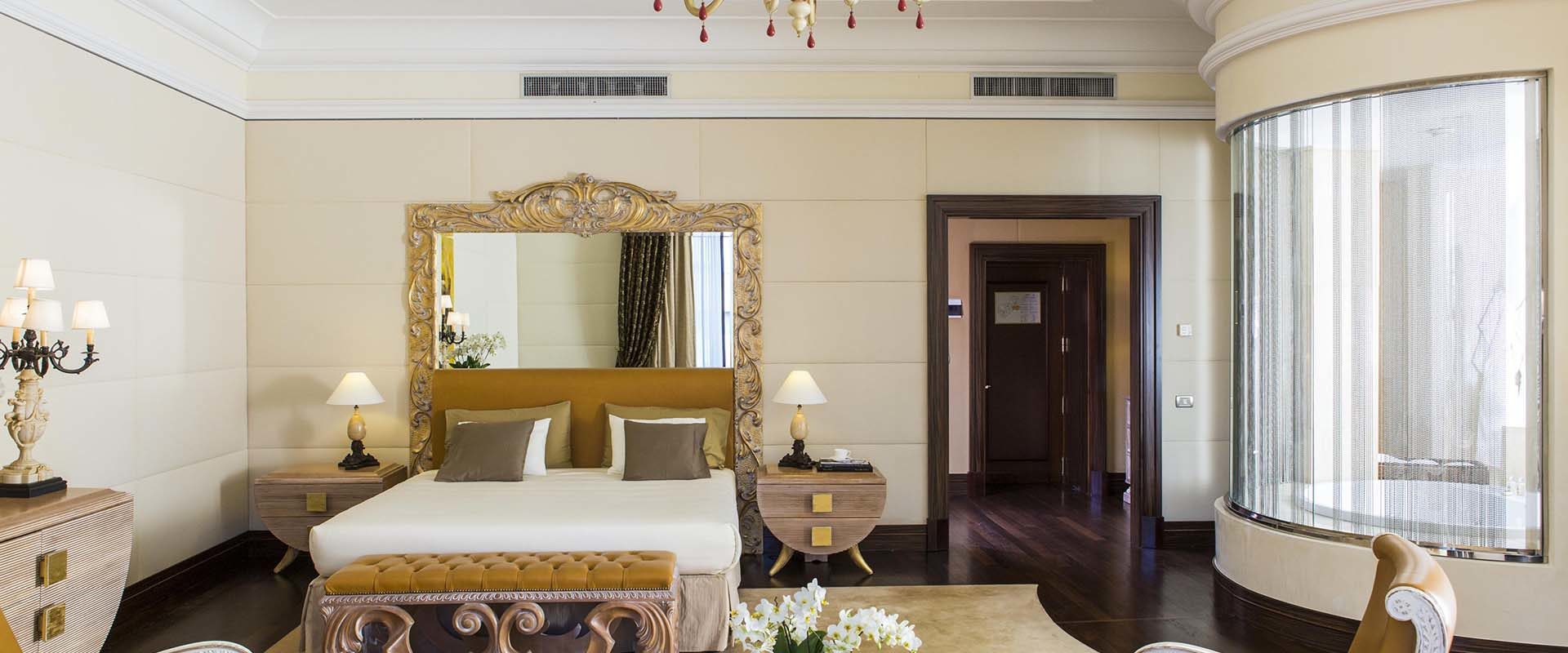 Bedroom of the Presidential Suite at the Palazzo Naiadi luxury hotel in Rome