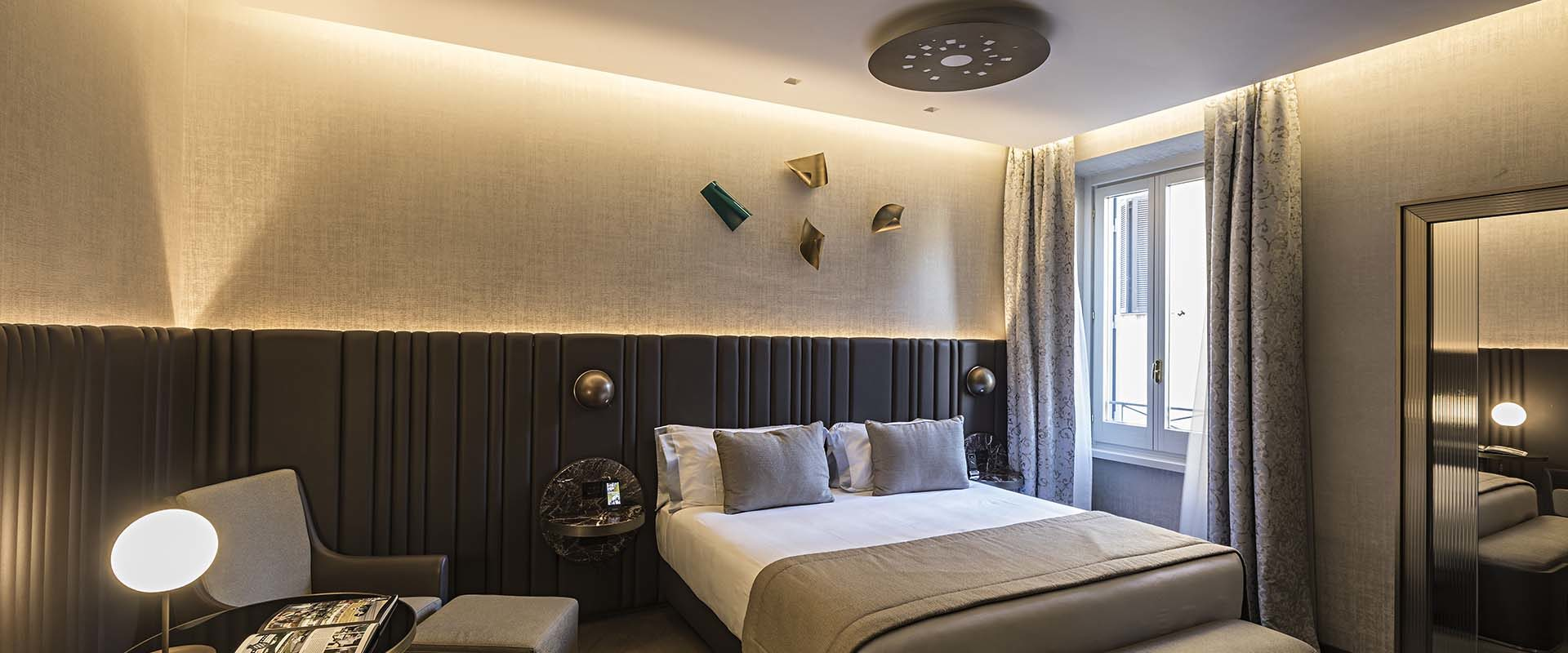 Bedroom of the Junior Suite at the Pantheon Icon Hotel