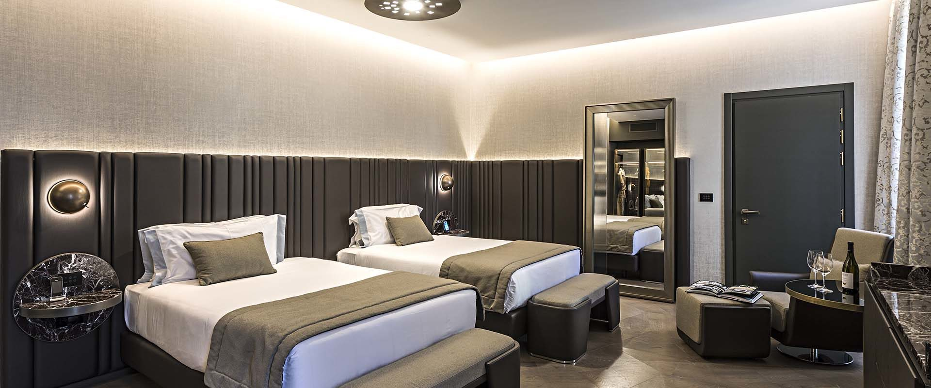 Bedroom of the Junior 2 Double Suite at the Pantheon Icon Hotel