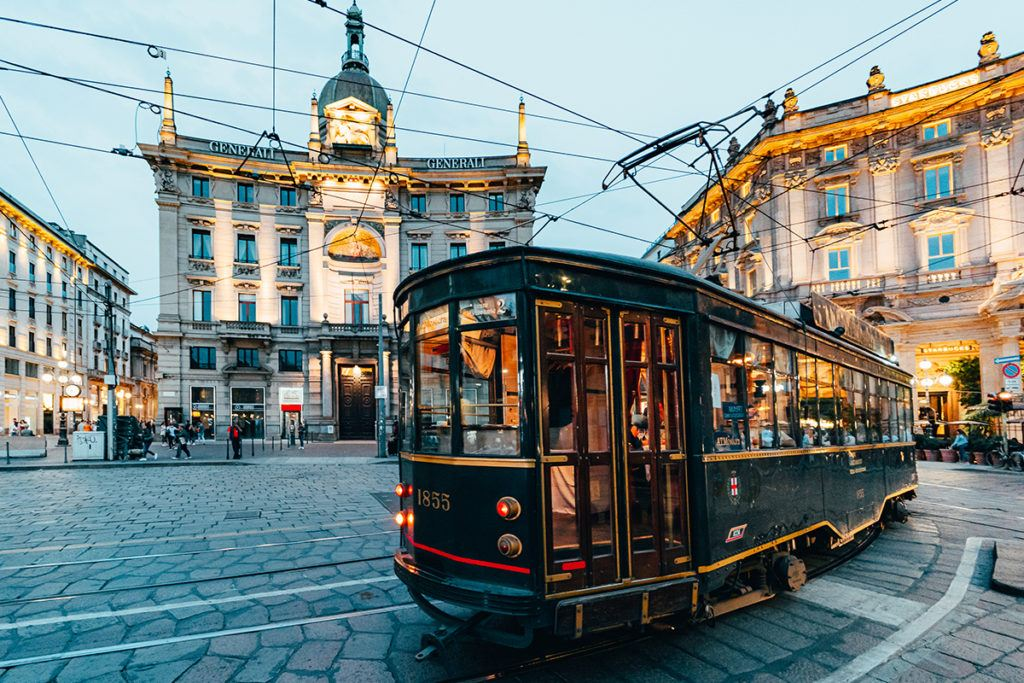 Old Tram crosses the streets of Milan