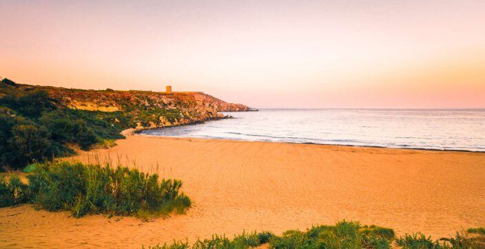 the beautiful sands and pristine coastline of Ramla Bay, Gozo