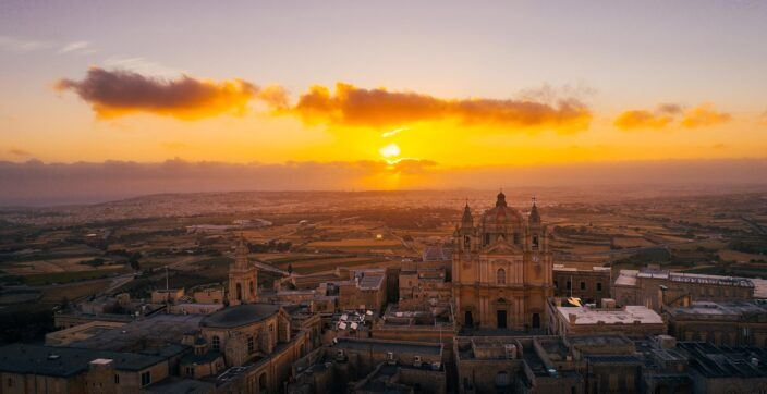 Aerial view of the walled city of Mdina at sunrise