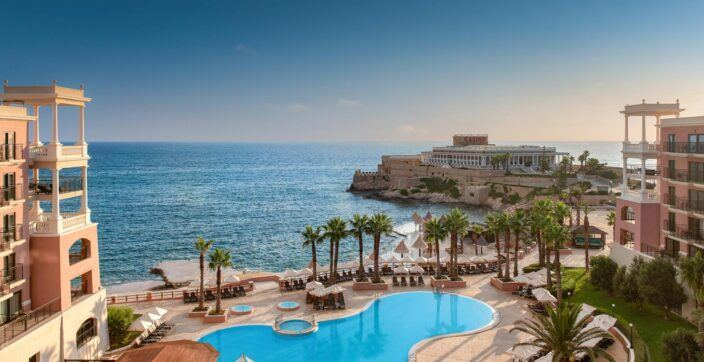 ocean-side exterior of the Westin Dragonara Resort in Malta