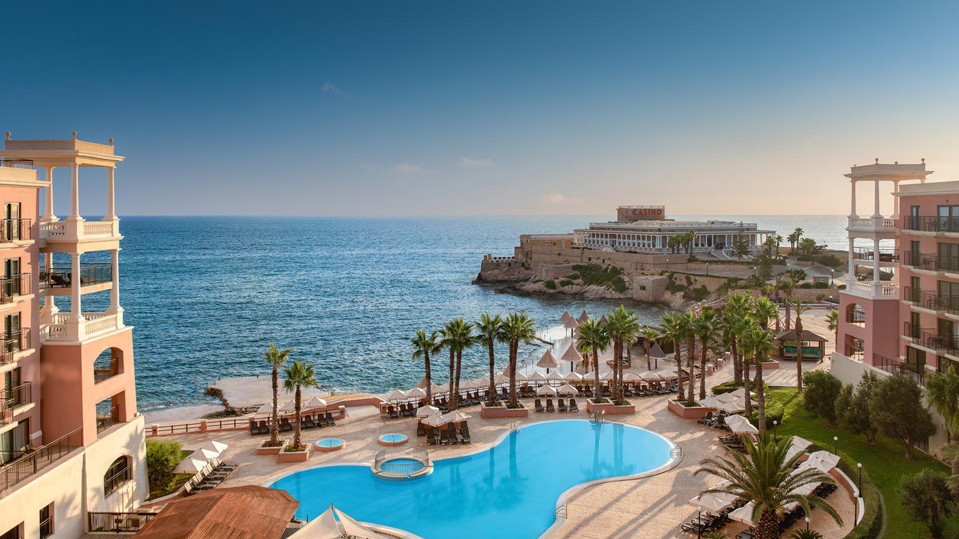 ocean-side exterior of the Westin Dragonara Resort in Malta